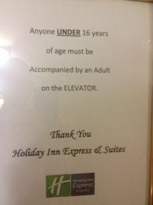 Elevator age limits.